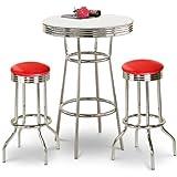 Chrome Bar Table & 2 Chrome Glitter Red Vinyl Seat Barstools