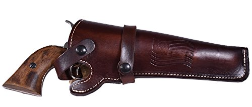 BlueStone Safety Western Leather Revolver Holster Fits 4 to 6 inch Barrel Revolvers Single Double Action Ruger Redhawk GP100 Colt Army 45 Long ()