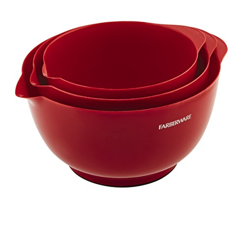 Farberware Classic Plastic Mixing Bowls, Red Set of 3 Microwave Safe Mixing Bowls