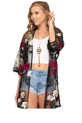 Rose Cottage Embroidery - She + Sky Floral Embroidered Kimono (Rose Red)