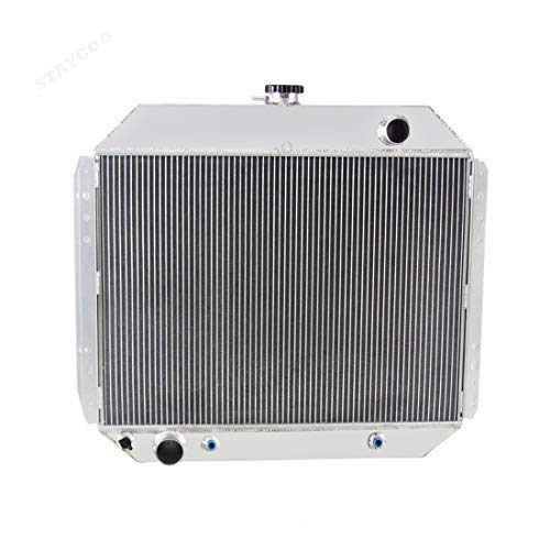 STAYCOO 52MM 3 Row Core Aluminum Radiator for Ford F100 F150 F250 F350 Truck 1966-1979 /Bronco 1978-79