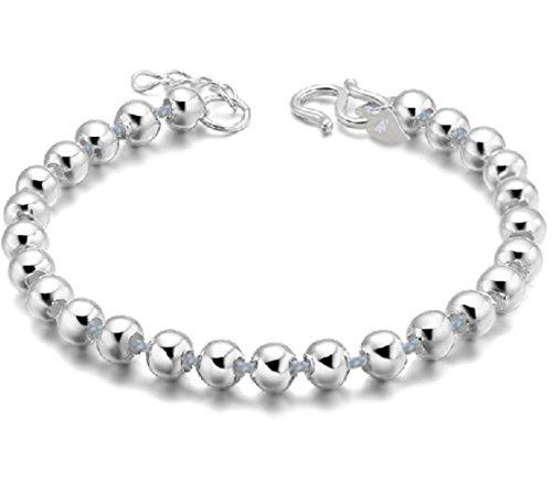 NYKKOLA Beautiful Jewelry 925 Solid Silver Classic Hoop Bangle Bracelets For Women Mens (Beautiful Mens Jewelry)