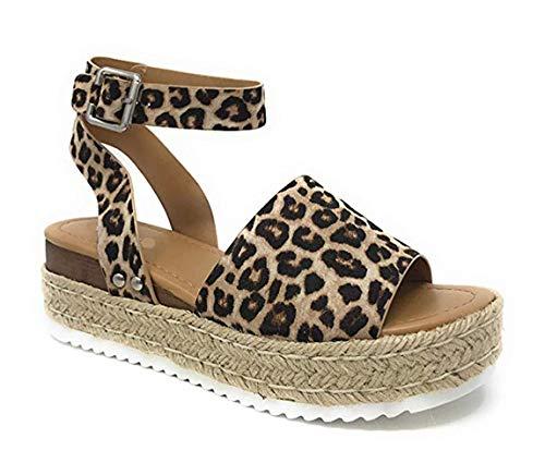 Ymost Womens Wedges Sandal Open Toe Ankle Strap Trendy Espadrille Platform Sandals Flats (9 B(M) US-EU Size 41, New Leopard)