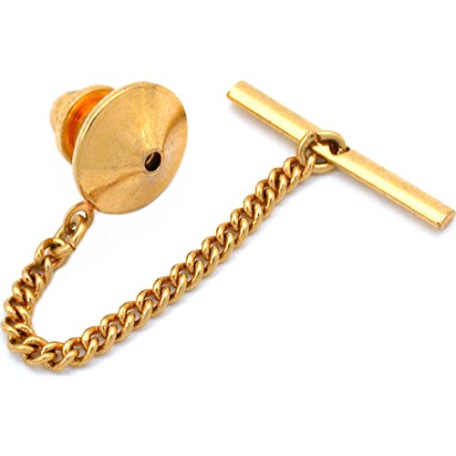- Generic Gold Plated Pin Back With Tie Tack Clutch Chain New