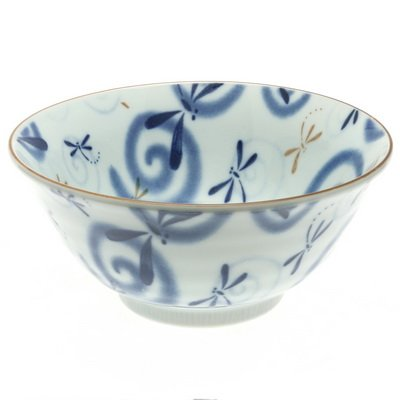 Japanese 6 Tayo Blue Dragonfly Swirls Bowl