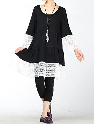 Trim Black Lace Flared Side Dress Shirts Women's with Boho Mordenmiss Tunics Pockets OqXC7