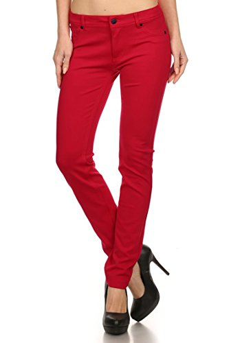red skinny jeans for juniors - 8
