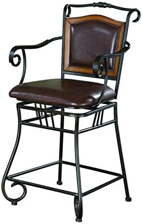 24 Bar Stool with Upholstered Seat Brown and Bronze