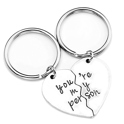 Jovivi 2pc You are My Person Heart Pendant Keychain Jewelry Set - Valentines Day