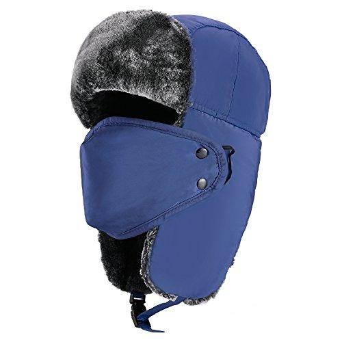- mysuntown Unisex Winter Trooper Hat Hunting Hat Ushanka Ear Flap Chin Strap and Windproof Mask(Blue Color)