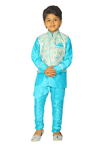 Ahhaaaa Kids Ethnic Indian Dupion Silk Kurta Pyjama and Waistcoat Set for Baby Boys