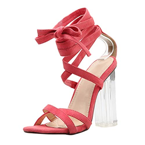 Yucode Women Open Toe Block Heel Heeled Sandals Crisscross Ankle Strap Summer Sandals Party Simple Classic Pump Red 6 3/4 Inch Sexy Spike