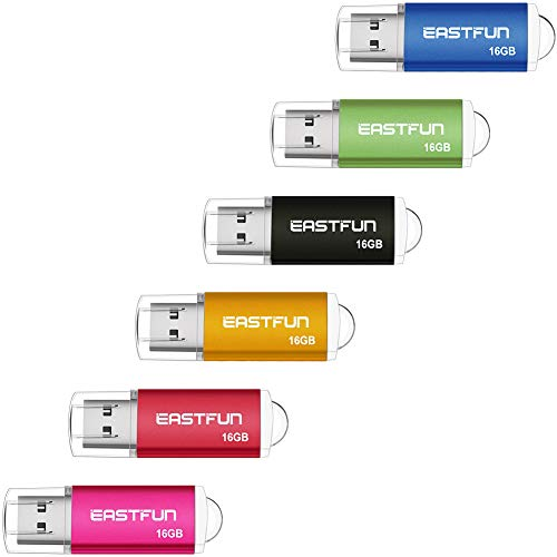 EASTFUN 6 Pack 16GB USB 2.0 Flash Drive Memory Stick Thumb Drive Thumb Stick Jump Drive Zip Drive Pen Drive,with LED Indicator,6pcs Colors:Rose/Red/Gold/Black/Green/Blue