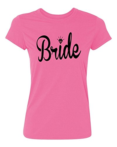 Bride Womens Pink T-shirt - P&B Wedding Bride Women's T-Shirt, M, Azalea Pink