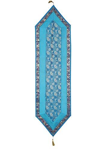 Mogul Interior Ethnic Hand Made Blue Varanasi Silk Sari Table Runner Home Decor 72x16 ()