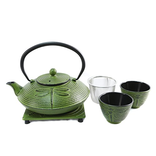 Cuisiland Dragonfly Cast Iron Teapot Set with 2 Cups 27oz Green ()