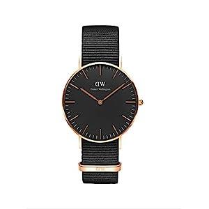 Daniel Wellington Classic Cornwall, orologio nero e oro rosa, 36 mm, NATO, per uomo e donna 17
