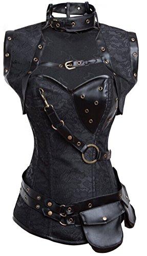 - KIWI RATA Women's Faux Leather Overbust Buckle Corset G-String M Royal Black