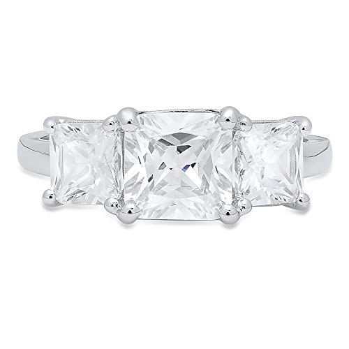 - 3.25 ct Square Emerald Baguette cut 3 stone Solitaire Accent Quality Lab Created White Sapphire Ideal VVS1 & Diamond Simulant Engagement Promise Anniversary Bridal Wedding Ring 14k White Gold Sz 10