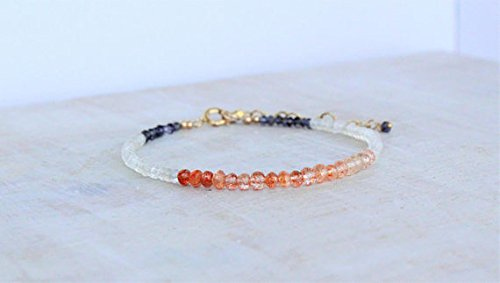 JP_Beads Sunstone, Rainbow Moonstone and Iolite Bracelet, Delicate Multi Gemstone Beaded Stacking Bracelet, Christmas Gift for her, Sunstone Jewelry 3,5 mm ()
