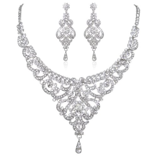 EVER FAITH Bridal Silver-Tone Vase Flower Clear Austrian Crystal Necklace Earrings (Clear Crystal Flower Earrings)
