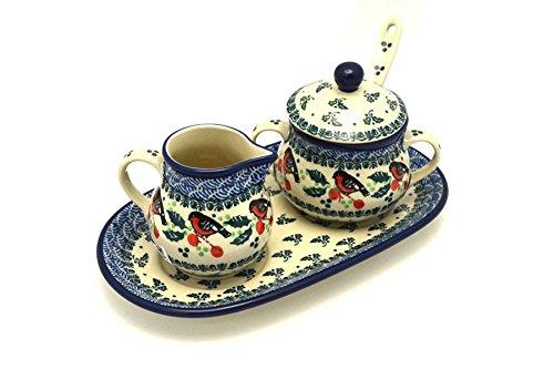 Polish Pottery Cream & Sugar Set with Sugar Spoon - Red Robin