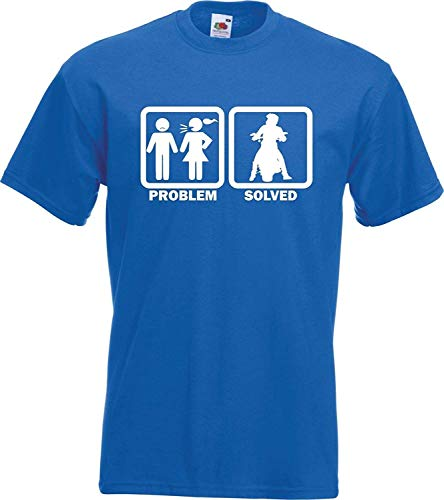 (Summy dogs Tees Problem Solved Motorbike Rider T-Shirt (Large) Royal Blue)