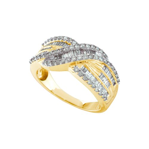 Size 12.5 - 14K Yellow Gold Diamond Cross Over Wedding , Anniversary OR Fashion Right Hand Ring Band - w/ Channel Invisible Set Round & Baguette Diamonds - (.77 (14k Yellow Gold Crossover)