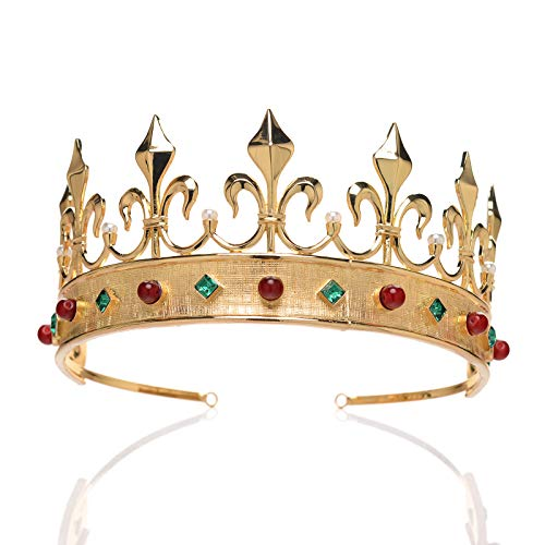 SWEETV Broque Queen Crown for Women - Imperial Gold Crown for Pageant, Photograph, Theater, Fleur De Lis Shaped Party Hair Accessories