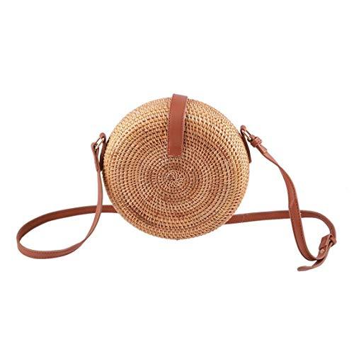 de bolsa hombro solo bolsas dulces Bohemia pastoral redonda estilo viento mujeres chicas de de estilo femenina bolso paja SeniorMar forma ratán HzxUxq