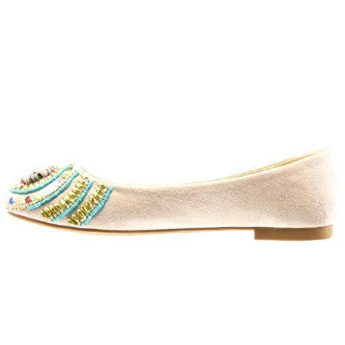 Slip Moda Rosa Tacco a cm on Blocco Gioielli Scarpe 1 Donna Angkorly Ballerina Perla 8tO5ta