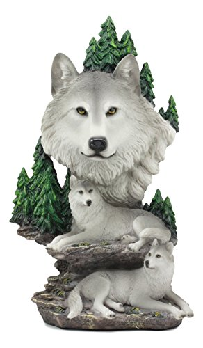 Ebros Mountain Scenery Gray Wolf Family Statue Timber Wolf Pack On Rocks 13 H Figurine