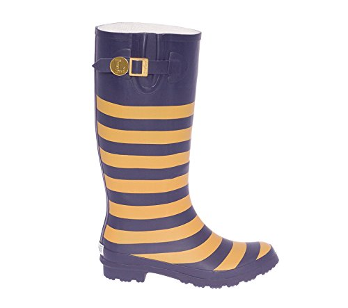 Dark Blue and Vegas Gold Rainboots Initial W a08oP
