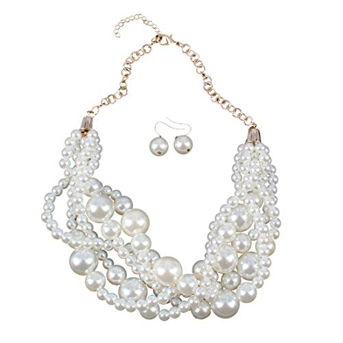 Ufraky Womens Imitation Pearl Cluster Beads Twisted Statement Chunky Bib Choker Necklace and Earring -