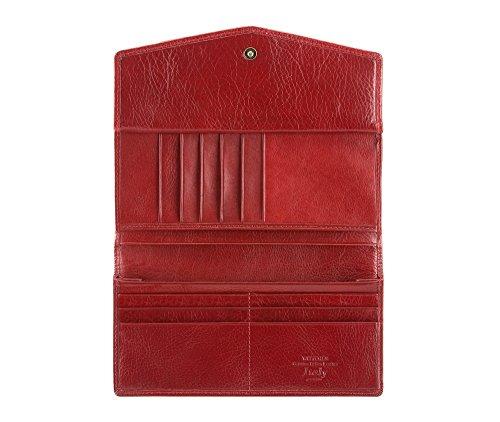 WITTCHEN portafoglio, Rosso, Dimensione: 9x18.5 cm - Materiale: Pelle di grano - 21-1-079-3