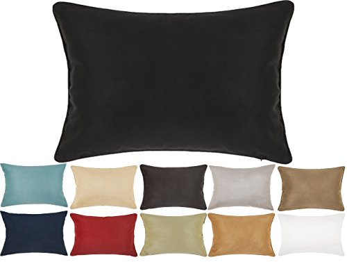 - DreamHome 12 X 18 Inches Faux Suede Decorative Lumbar Pillow Cover/Sham (Black)