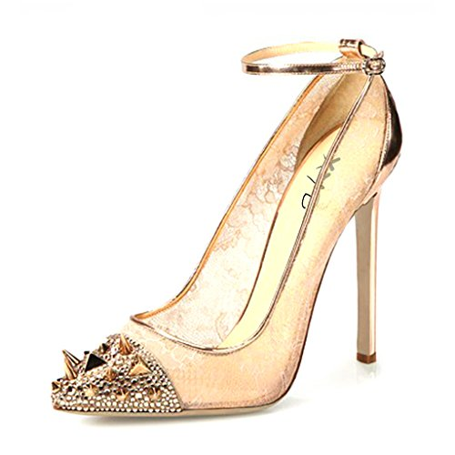XYD Trendy Dress Shoes Almond Toe Ankle Strap High Heels Stilettos Pumps with Studs for Women Size 4 Gold