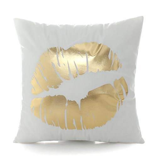 Kingla Home Sofa Cushion Covers Flannel Bronzing Soft Couch Pillow Covers Golden Lip White Throw Pillow Covers 45x45cm 18x18 Inch