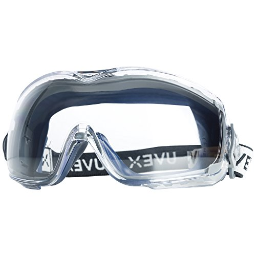 (Uvex Stealth OTG Safety Goggles with Anti-Fog/Anti-Scratch Coating (S3970DF ) - 19369, Navy Body, Clear Lens)