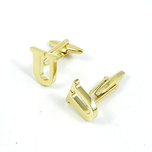 50 Pairs Cufflinks Cuff Links Fashion Mens Boys Jewelry Wedding Party Favors Gift 112NT0 Golden Letter U by Fulllove Jewelry