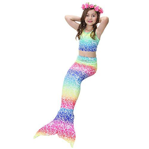 Mermaid Costume For Girls To Swim In (Mermaid Tail Swimming Girls 3Pcs Bikini Set Support Monofin (120CM(5-6Y), Colorful4))