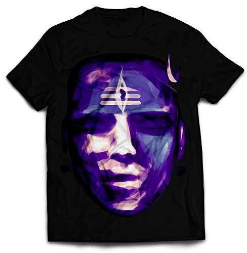 Big Purple Face Hindu God Shiva Printed Creative Men's Black Cotton T-Shirt - STAND OUT (Medium) (Electronic Cigarette Vega)