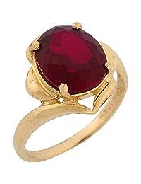 10k Yellow Gold Synthetic Garnet Stylish January Birthstone Ring