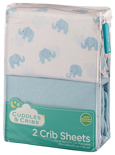 Cuddles & Cribs  2 Pack GOTS Certified Organic Cotton Fitted Crib Sheets for Baby & Toddler - Elephant & Blue