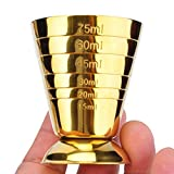 HAPPYNUTS Spirit Measure Cup 1/2-Oz 1-Oz 1-1/2-Oz 2-Oz 2-1/2-Oz 75ml 5Tbsp Stainless Steel Multi-Level Jigger Cup, Gold