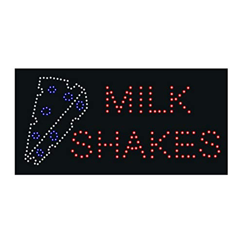 LED Burgers Shakes Milkshakes Open Light Sign Super Bright Electric Advertising Display Board for Ice Cream Hamburger Fast Food Restaurant Business Store Window Home Bedroom Decor 24 x 12 inches