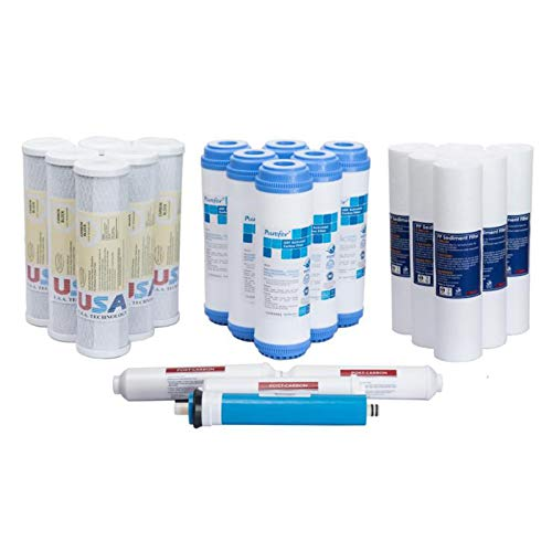 KUPPET 22 pcs Water Filter Sediment Carbon Reverser Osmosis Drinking 3 year Supply ()