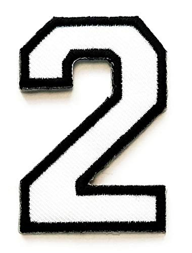 Letter School 0-9 Number Arabic Patch White Number Two No.2 Iron Sew On Embroidered Logo Symbol Coach Sports Team Fan Player Lover Basketball Football for Costume Badge Cloth -