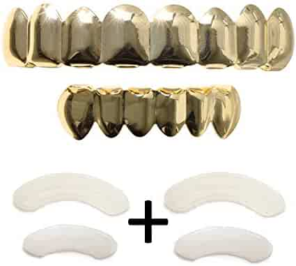 fa64b8d52 Gold Grillz Teeth Set Best Gift for Son-New Custom Fit 14k Plated Gold  Grillz