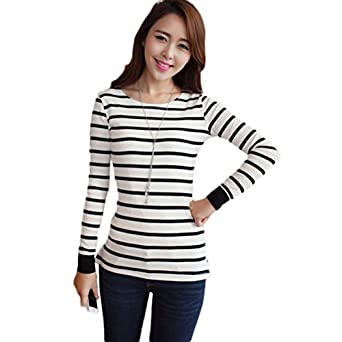 Women striped long sleeve t shirt slim fit in black white for Black and white striped long sleeve shirt women